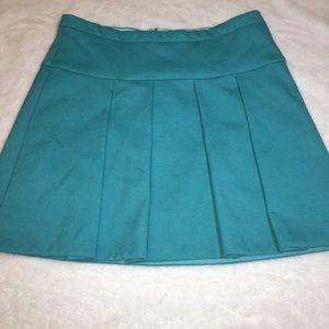 J. Crew Turquoise Pleated Mini Skirt Size 8